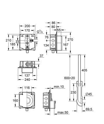 Смывное устройство под давлением для унитаза GROHE Rondo без ИК-панели смыва