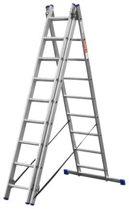 Лестница Зубр универсальная, трехсекционная со стабилизатором, 9 ступеней