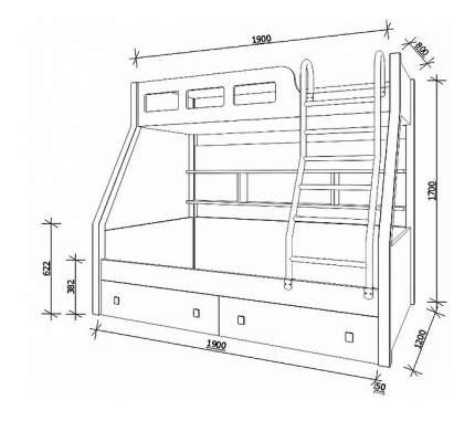 Двухъярусная кровать РВ мебель Рио каркас венге/голубой венге