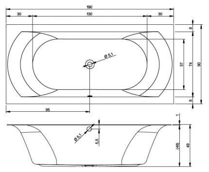 Акриловая ванна Riho Linares 170х75 без гидромассажа правая