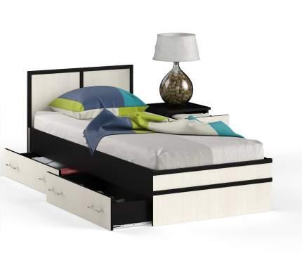 Кровать 0900 + тумба СВК Сакура венге/дуб лоредо, 134х203,5х80 см