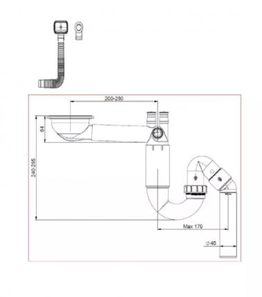 Сифон для кухонной мойки Prevex PL1-D9CR5-SANT-01