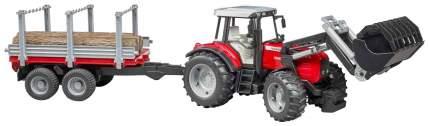 Трактор Massey Ferguson, c манипулятором и прицепом