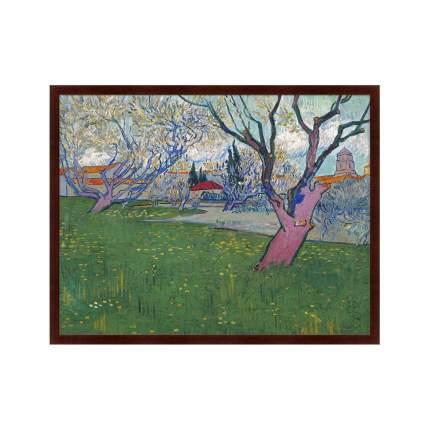 Картина View of Arles with Trees in Blossom, 1889г,, 78,5х100см, Картины в Квартиру