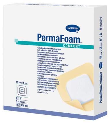 Повязка Permafoam comfort губчатая самоклеящаяся для заживления ран 15 х 15 см 5 шт.