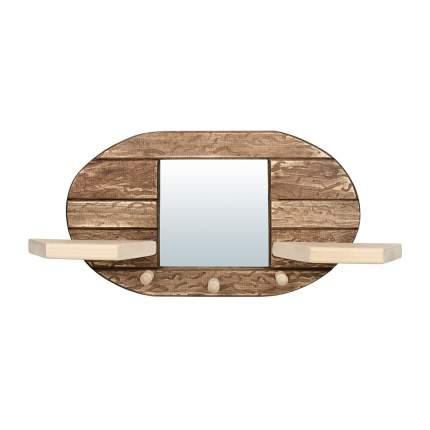 """Зеркало с вешалкой и двумя полками, состаренное Банные штучки """"Овал"""" (3 рожка), липа"""