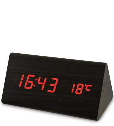 Часы электронные треуг. (чёрное дерево с красной подсветкой) ЯЛ-07-02/ 1