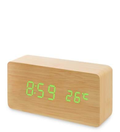 Часы электронные (жёлтое дерево с зелёной подсветкой) ЯЛ-07-09/ 1