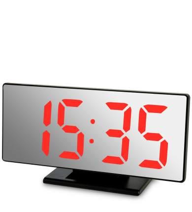 Часы электронные зеркальные (черное дерево с красной подсветкой) ЯЛ-07-04/5