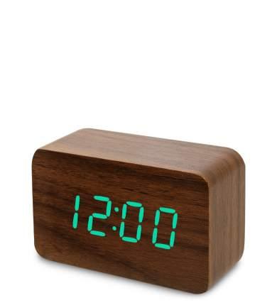 Часы электронные сред. (коричневое дерево с зелёной подсветкой) ЯЛ-07-05/15