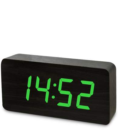 Часы электронные бол. (чёрное дерево с зелёной подсветкой) ЯЛ-07-03/15
