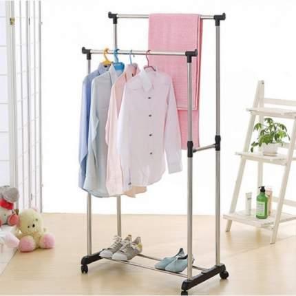 Напольная передвижная стойка для одежды Double Pole clothesrack, серебристый/черный