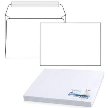 Конверты С4 229х324 мм отрывная полоса белые 100 г/м2 50 шт внутренняя запечатка 1657.50