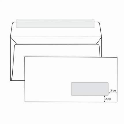 Конверты Е65 (110х220 мм), правое окно, отрывная полоса, белые, КОМПЛЕКТ 1000 шт.