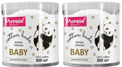 Ватные палочки PREMIAL детские (цилиндр) 200 шт., 2 упаковки