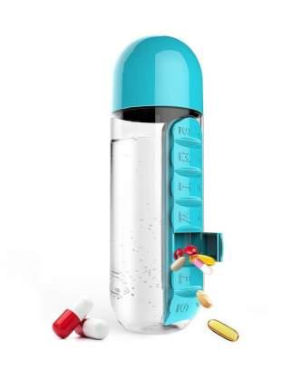 Бутылка для воды с таблетницей Pill Vitamin Water Bottle (голубая)