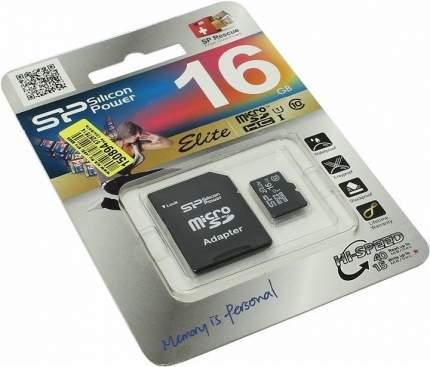 Карта памяти Silicon Power Elite Gold microSDHC 16GB + адаптер (SP016GBSTHBU1V1GSP)