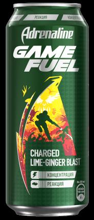 Энергетический напиток Adrenaline game fuel со вкусом имбиря и лайма ж/б 0.449 л