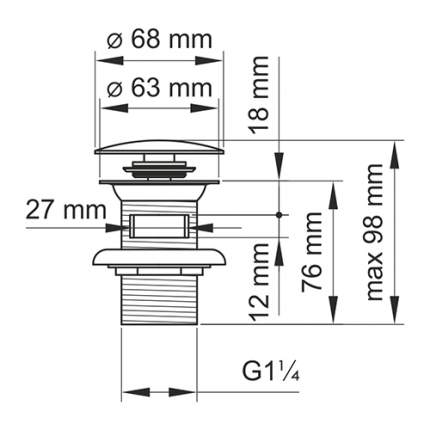 Донный клапан Push-up WasserKRAFT A073