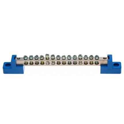 Клеммная шина СВЕТОЗАР нулевая на 2-х угловых изоляторах, макс, ток 100А, 5мм, 14 отв,