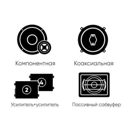 Комплект автоакустики фронт Ural + тыл Ural +усилитель 4к +усилитель1к +сабвуфер 34328