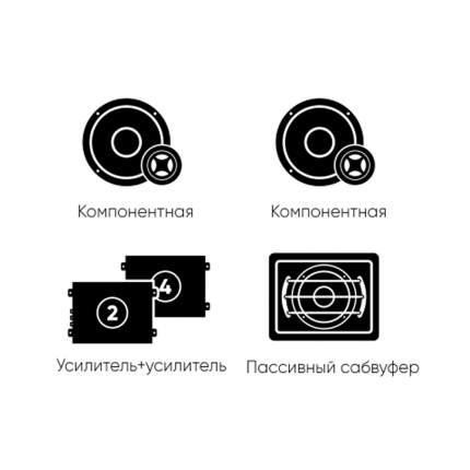 Комплект автоакустики фронт (Ural) + тыл (Ural) +усилитель 4к +усилитель1к +сабвуфер 34334