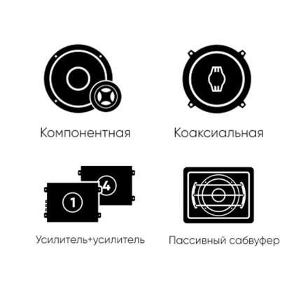 Комплект автоакустики фронт (Ural) + тыл (Ural) +усилитель 4к +усилитель1к +сабвуфер 34352