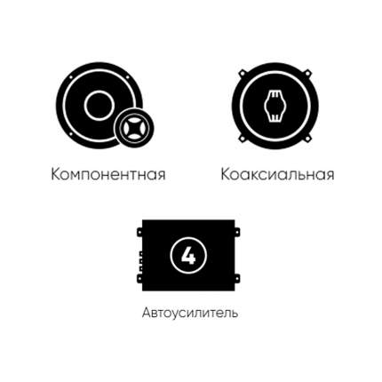 Готовый комплект автоакустики фронт (Ural) + тыл (Ural) + усилитель 4к 34366