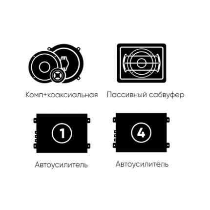 Комплект автоакустики фронт (Ural) + тыл (Ural) +усилитель 4к +усилитель1к +сабвуфер 34367