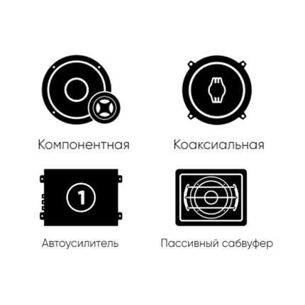 Комплект автоакустики фронт (Ural) + тыл (Ural) +усилитель 4к +усилитель1к +сабвуфер 34381