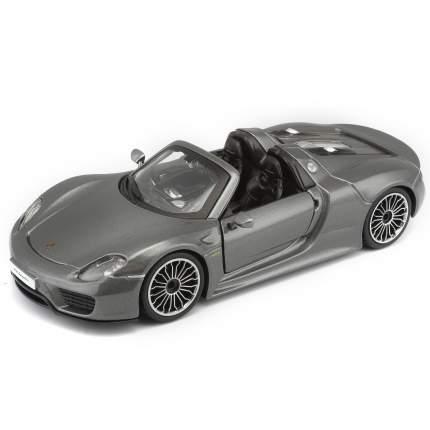 Bburago Коллекционная машинка 1:24 Porsche 918 Spyder, 18-21076, серый металлик