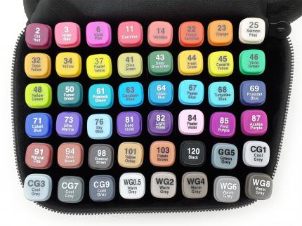 Набор маркеров двусторонних Touch Liit Raven, 48 цветов