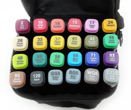 Набор маркеров двусторонних Touch Liit Raven, 24 цвета