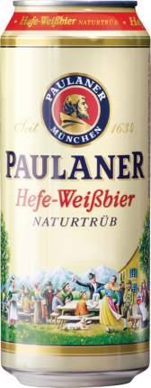 Пиво Paulaner Hefe-Weissbier Naturtrub в жестяной банке