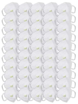 Маска многоразовая защитная KN95 с клапаном 50шт, цвет белый