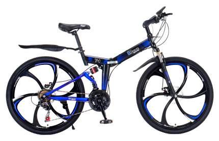 """Горный складной велосипед """"eTrend Sports T-1"""" (черный/синий)"""