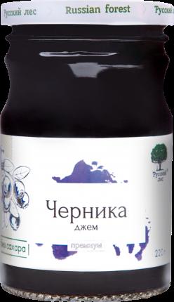 Джем Русский лес Черника Премиум без сахара 220 г