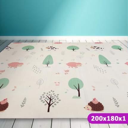 Детский коврик складной SLAMA KIDS Тигренок и Сова + Зверушки и Деревья - 200x180x1 см