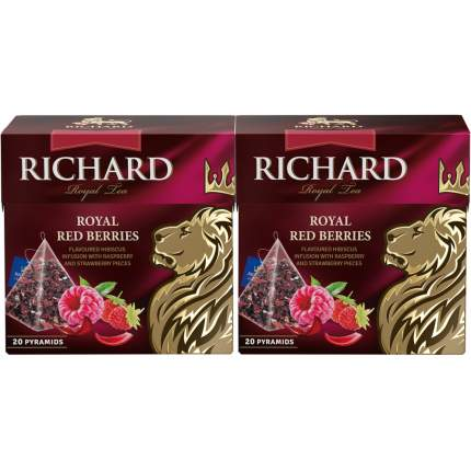 "Чай каркаде Richard ""Royal Red Berries"", с добавками, 20 пирамидок, 2 упаковки"