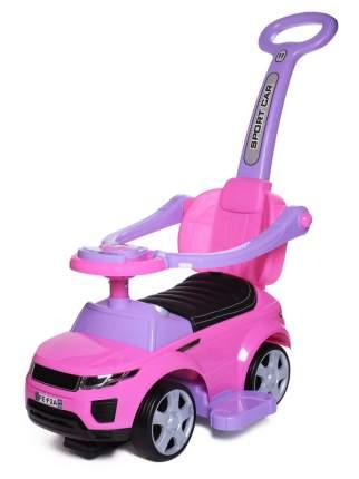 Каталка детская Babycare Sport car резиновые колеса кожаное сиденье Розовый