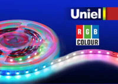 Светодиодная лента Uniel ULS-5050-60LED/m-10mm-IP20-DC24V-14,4W/m-5M-RGB 24 V открытые