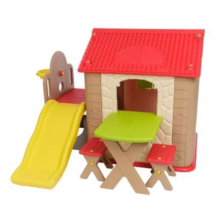Детский игровой комплекс Haenim Toy HN-777 Brown+Red 2 стульчика, кольцо, мяч, горка