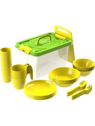 Набор посуды для пикника №4 Дружная семья на 4 персоны, 30 предметов