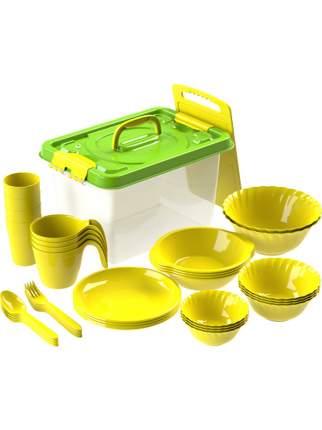 Набор посуды для пикника №5 Весёлая компания на 4 персоны, 36 предметов