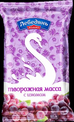 Творожная масса Лебедянь молоко с сахаром и изюмом 0% бзмж 180 г