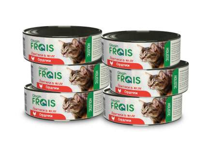 Консервы Glogin Frais Holistic для кошек ломтики в желе, сердечки, 100 г  6 шт