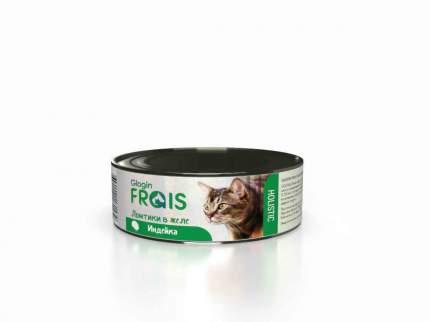Консервы Glogin Frais Holistic для кошек ломтики в желе, индейка, 100 г  6 шт