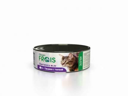 Консервы Glogin Frais Holistic для кошек ломтики в желе, сардина с тыквой, 100 г  6 шт