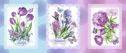 """Полотенце Вафельное """"Аромат Весны"""" 47х60 (голубая)"""