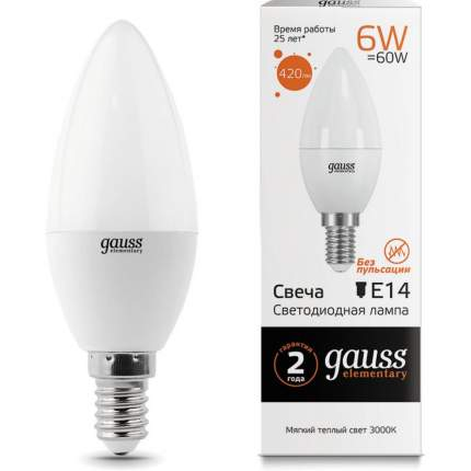 Лампа светодиодная Gauss Elementary 33116 6W E14 3000K